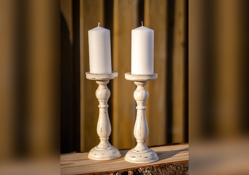 Kerzenhalter Shabby Weiß